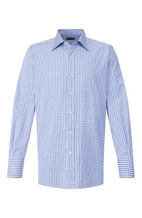 Мужская хлопковая сорочка TOM FORD синего цвета, арт. 6FT644/94C1JE | Фото 1