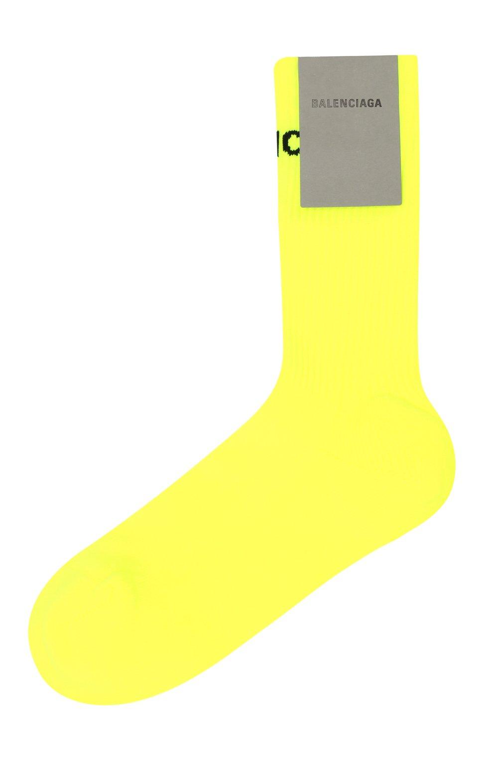 Мужские носки BALENCIAGA желтого цвета, арт. 585526/479B0 | Фото 1