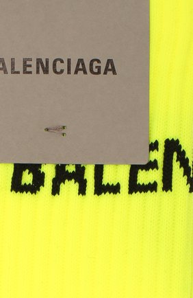 Мужские носки BALENCIAGA желтого цвета, арт. 585526/479B0 | Фото 2