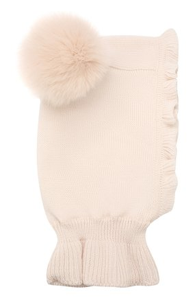 Детского шерстяная шапка-балаклава CATYA бежевого цвета, арт. 923608/P | Фото 1