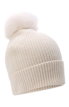 Детского кашемировая шапка с меховой отделкой YVES SALOMON ENFANT белого цвета, арт. 20WEA500XXCARD | Фото 1