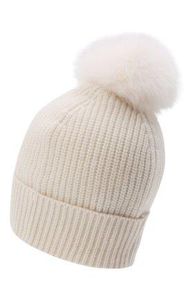 Детского кашемировая шапка с меховой отделкой YVES SALOMON ENFANT белого цвета, арт. 20WEA500XXCARD | Фото 2