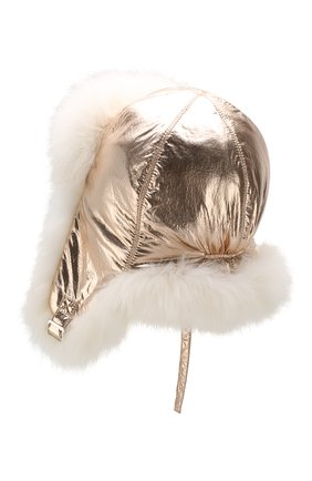 Детского шапка-ушанка с меховой отделкой YVES SALOMON ENFANT золотого цвета, арт. 20WEA022XXEN3W | Фото 2