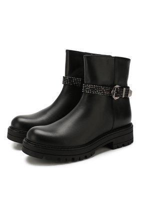 Детские кожаные ботинки MISSOURI черного цвета, арт. 85837M/31-34 | Фото 1