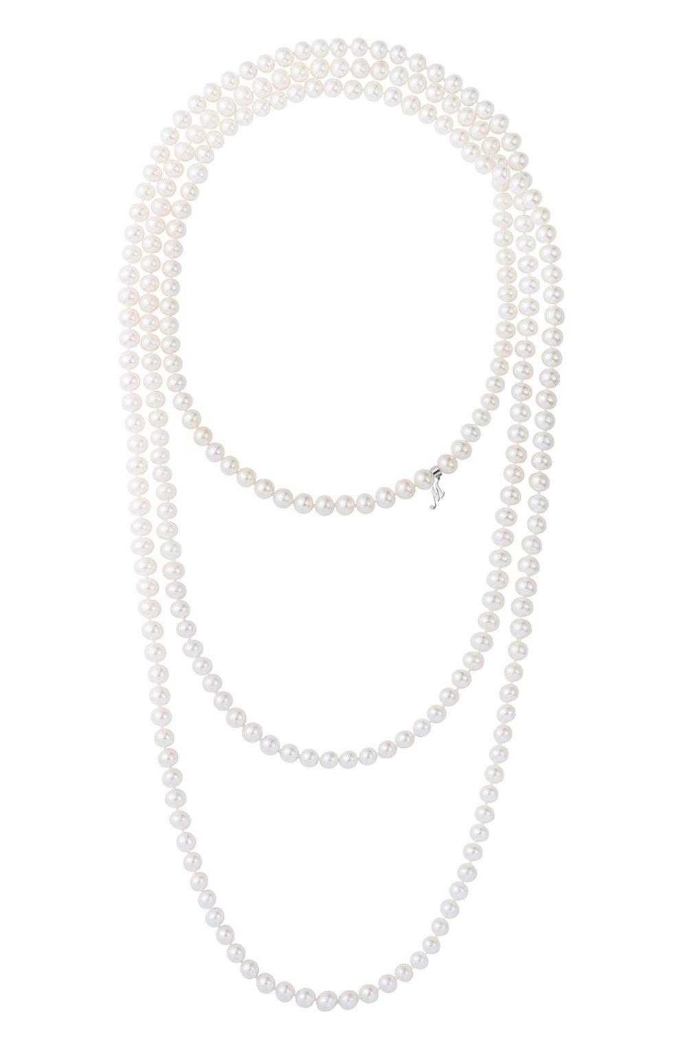 Женские ожерелье MERCURY бесцветного цвета, арт. MN22295/PRL   Фото 1 (Материал сплава: Белое золото; Драгоценные камни: Жемчуг)