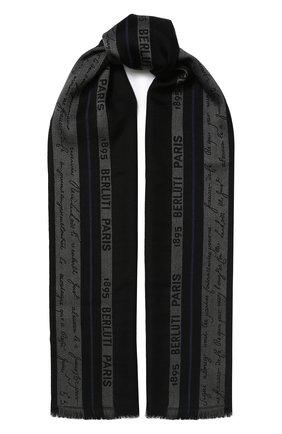 Мужской шарф из смеси шелка и шерсти BERLUTI черного цвета, арт. T16SJ38-001   Фото 1
