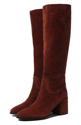 Женские замшевые сапоги TOD'S коричневого цвета, арт. XXW83B0BP40BYE | Фото 1