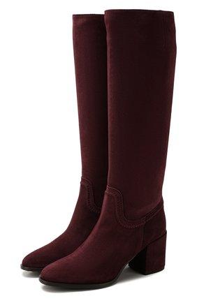 Женские замшевые сапоги TOD'S бордового цвета, арт. XXW83B0BP40BYE | Фото 1