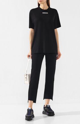 Женская хлопковая футболка BURBERRY черного цвета, арт. 8017115 | Фото 2