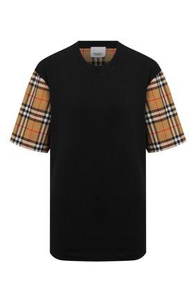 Женская хлопковая футболка BURBERRY черного цвета, арт. 8014895 | Фото 1 (Рукава: Короткие; Материал внешний: Хлопок; Силуэт Ж (для верхов): Оверсайз; Статус проверки: Проверена категория; Принт: С принтом; Женское Кросс-КТ: Футболка-одежда; Длина (для топов): Стандартные)