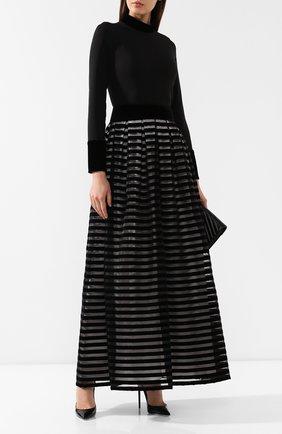 Женское шелковое платье GIORGIO ARMANI черно-белого цвета, арт. 9WHVA030/T01B0 | Фото 2