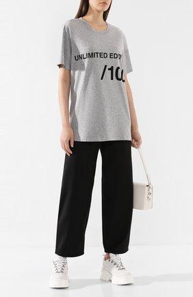 Женская хлопковая футболка MM6 светло-серого цвета, арт. S32GC0522/S21058 | Фото 2