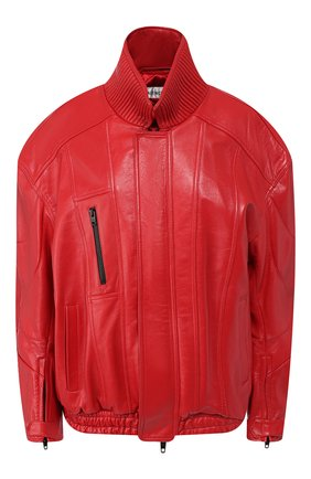 Женская кожаная куртка BALENCIAGA красного цвета, арт. 595969/TGS04 | Фото 1