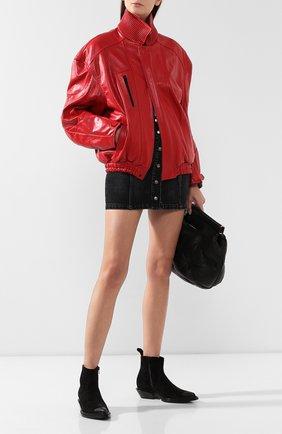 Женская кожаная куртка BALENCIAGA красного цвета, арт. 595969/TGS04 | Фото 2