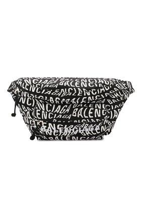 Мужская текстильная поясная сумка wheel BALENCIAGA черно-белого цвета, арт. 533009/9MIAN | Фото 1