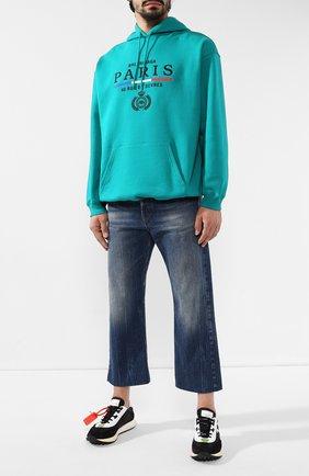 Мужские укороченные джинсы BALENCIAGA темно-синего цвета, арт. 594609/TCW03 | Фото 2