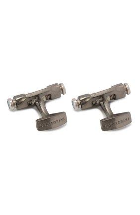 Мужские серебряные запонки double bolt TATEOSSIAN темно-серого цвета, арт. CL8007 | Фото 2