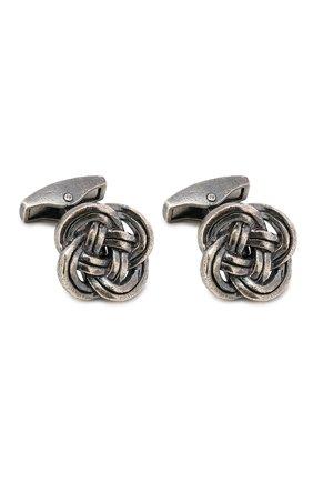 Мужские серебряные запонки celtic knot TATEOSSIAN темно-серого цвета, арт. CL7672 | Фото 1