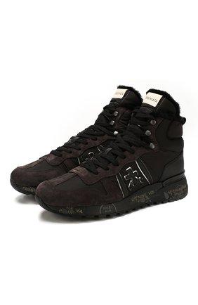 Мужские комбинированные кроссовки jeff PREMIATA темно-коричневого цвета, арт. JEFF/VAR4275 | Фото 1