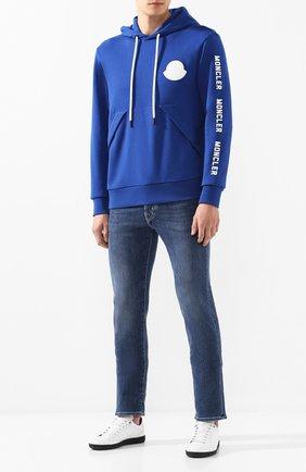Мужской хлопковое худи MONCLER синего цвета, арт. E2-091-80464-50-V8048 | Фото 2