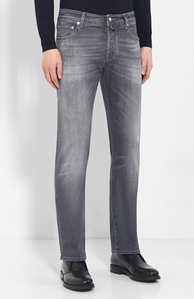 Мужские джинсы JACOB COHEN серого цвета, арт. J620 C0MF 01578-W2/52 | Фото 3