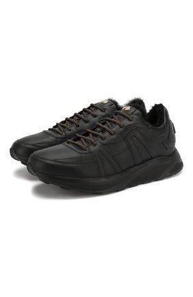 Мужские кожаные кроссовки HIDE&JACK черного цвета, арт. JETLBLKBLK-MTB | Фото 1