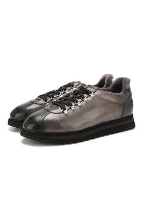 Мужские кожаные кеды DOUCAL'S серого цвета, арт. DU2156WINNPM0212N05 | Фото 1