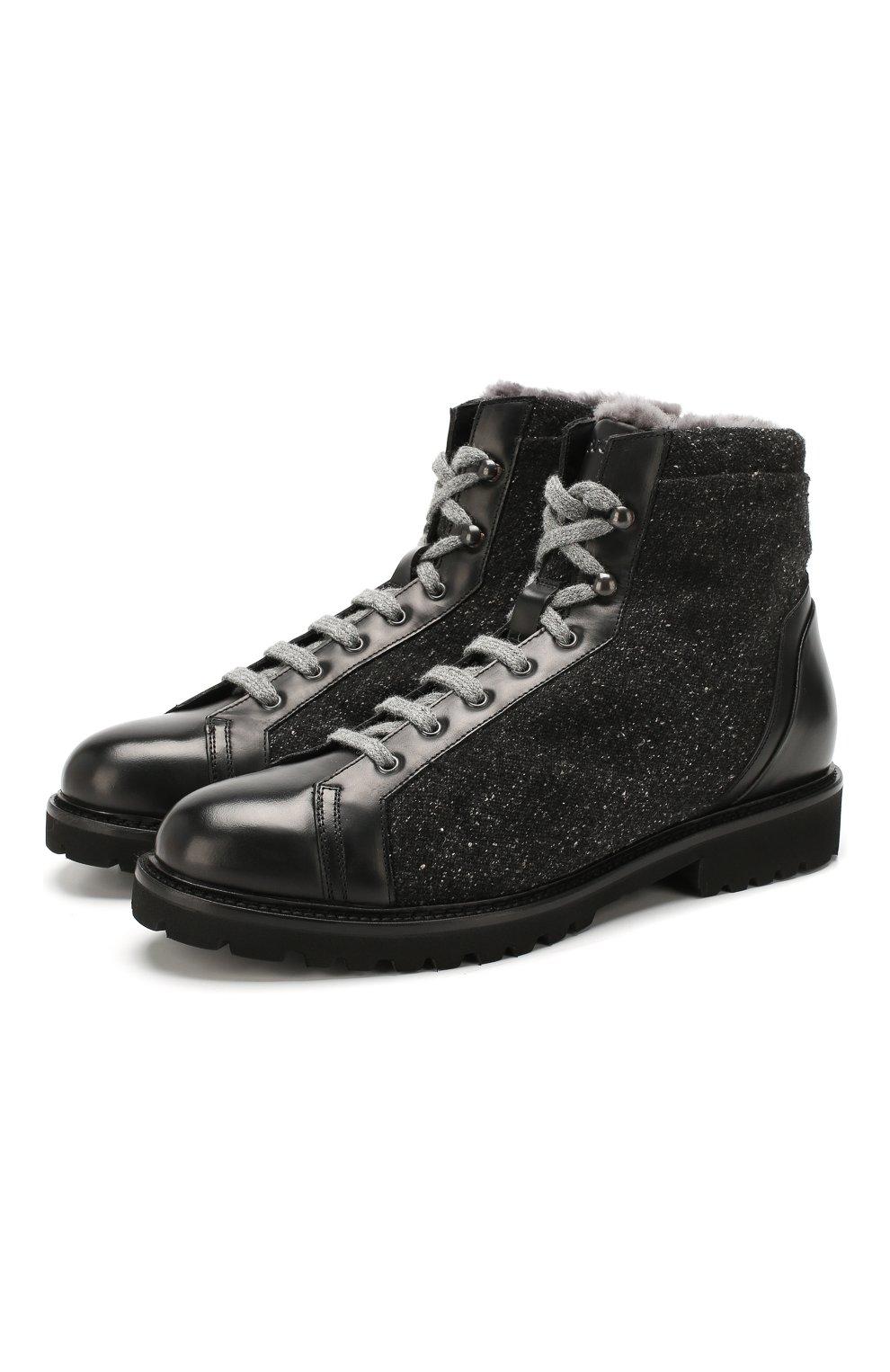 Мужские комбинированные ботинки DOUCAL'S черного цвета, арт. DU2486PHILPM340NN00 | Фото 1