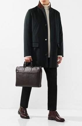 Мужская кожаная сумка для ноутбука SERAPIAN темно-коричневого цвета, арт. SEV0LMLL6198M38B | Фото 2