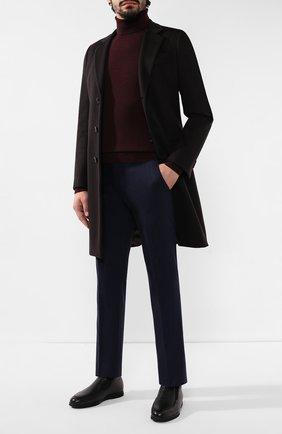 Мужские брюки из шерсти и кашемира ANDREA CAMPAGNA темно-синего цвета, арт. SC/1/FA2064 | Фото 2 (Длина (брюки, джинсы): Стандартные; Материал подклада: Купро; Материал внешний: Шерсть; Случай: Повседневный, Формальный; Стили: Классический)