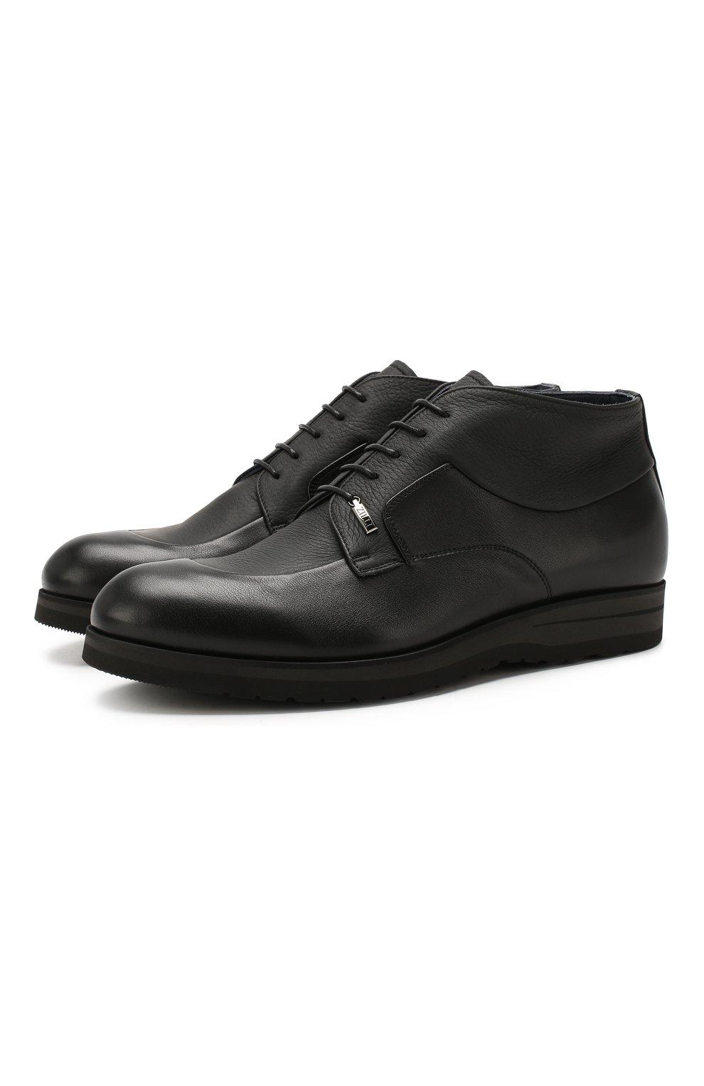 Мужские кожаные ботинки ZILLI черного цвета, арт. MDS-B046/002 | Фото 1