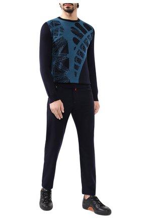 Мужской джемпер из смеси кашемира и шелка ZILLI темно-синего цвета, арт. MBS-RN130-F0T01/ML01   Фото 2