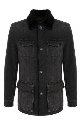 Мужская джинсовая куртка с меховой отделкой KITON серого цвета, арт. UW0580MV03S30 | Фото 1