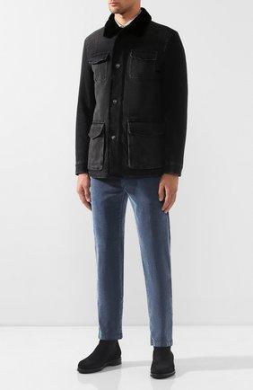 Мужская джинсовая куртка с меховой отделкой KITON серого цвета, арт. UW0580MV03S30 | Фото 2