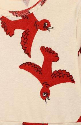 Детское хлопковое платье MINI RODINI бежевого цвета, арт. 19750132 | Фото 3