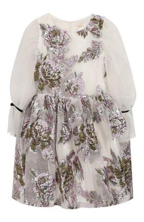 Детское платье DAVID CHARLES белого цвета, арт. 3119 | Фото 1 (Рукава: Длинные; Материал подклада: Хлопок; Ростовка одежда: 8 лет | 128 см)