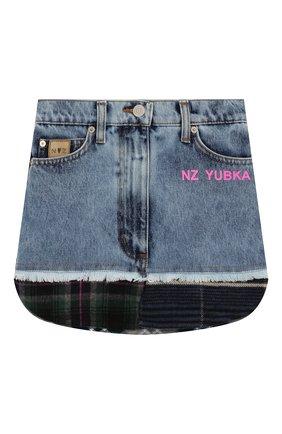 Детская джинсовая юбка NATASHA ZINKO синего цвета, арт. FW19MNZ303-83/10-14 | Фото 1