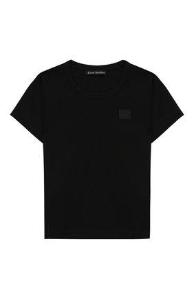 Детская хлопковая футболка ACNE STUDIOS черного цвета, арт. 2NH173 | Фото 1