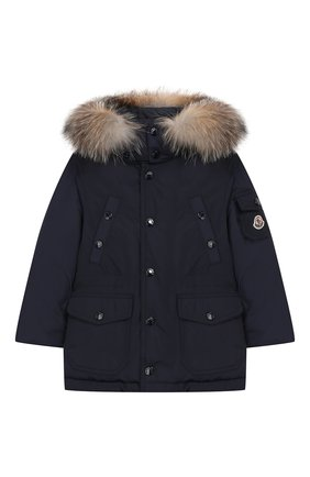 Пуховая куртка с меховой отделкой на капюшоне | Фото №1