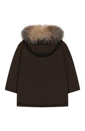 Пуховая куртка с меховой отделкой на капюшоне | Фото №2