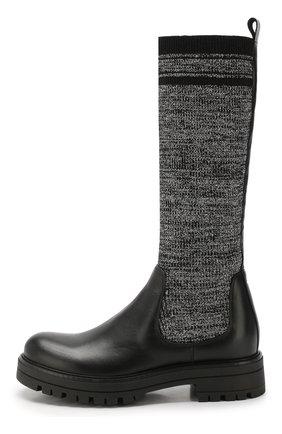 Детские кожаные сапоги с текстильной отделкой MISSOURI черного цвета, арт. 91888/35-41 | Фото 2