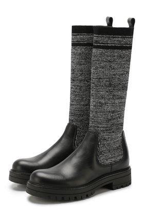 Детские кожаные сапоги с текстильной отделкой MISSOURI черного цвета, арт. 91888/31-34 | Фото 1