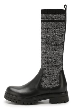 Детские кожаные сапоги с текстильной отделкой MISSOURI черного цвета, арт. 91888/31-34 | Фото 2