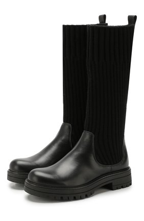 Детские кожаные сапоги с текстильной отделкой MISSOURI черного цвета, арт. 91886/35-41 | Фото 1