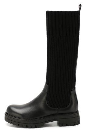 Детские кожаные сапоги с текстильной отделкой MISSOURI черного цвета, арт. 91886/35-41 | Фото 2