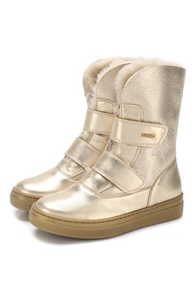 Детские кожаные ботинки с меховой отделкой MISSOURI золотого цвета, арт. 2954 V/27-30 | Фото 1