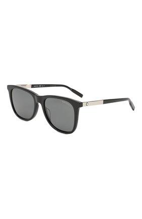 Мужские солнцезащитные очки MONTBLANC черного цвета, арт. MB0017 010 | Фото 1