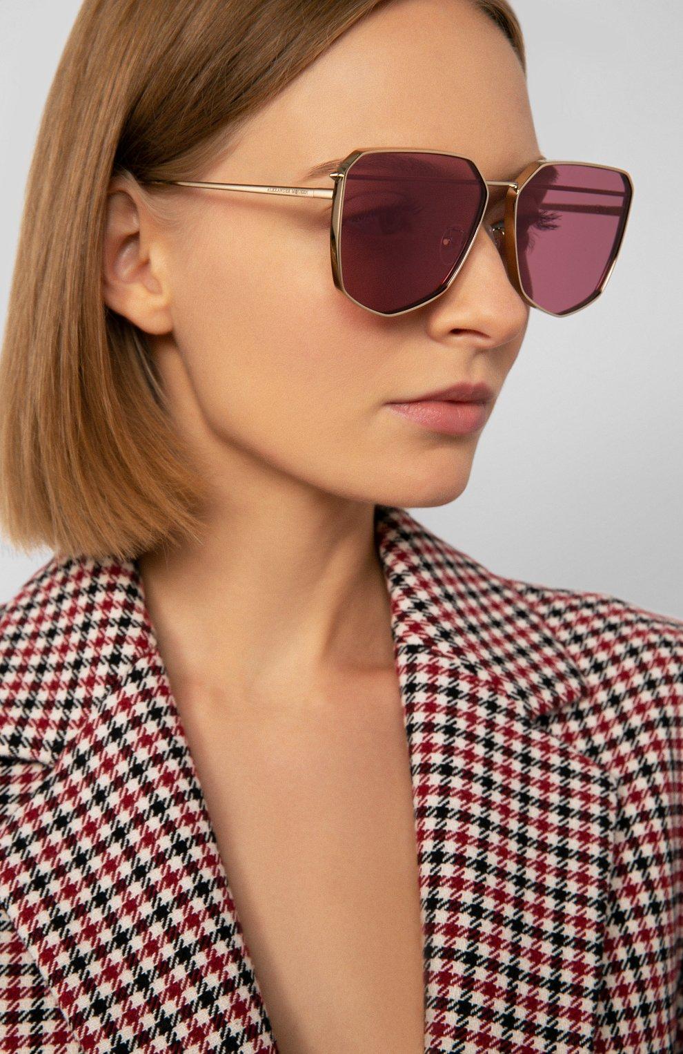 Женские солнцезащитные очки ALEXANDER MCQUEEN розового цвета, арт. AM0136 005 | Фото 2
