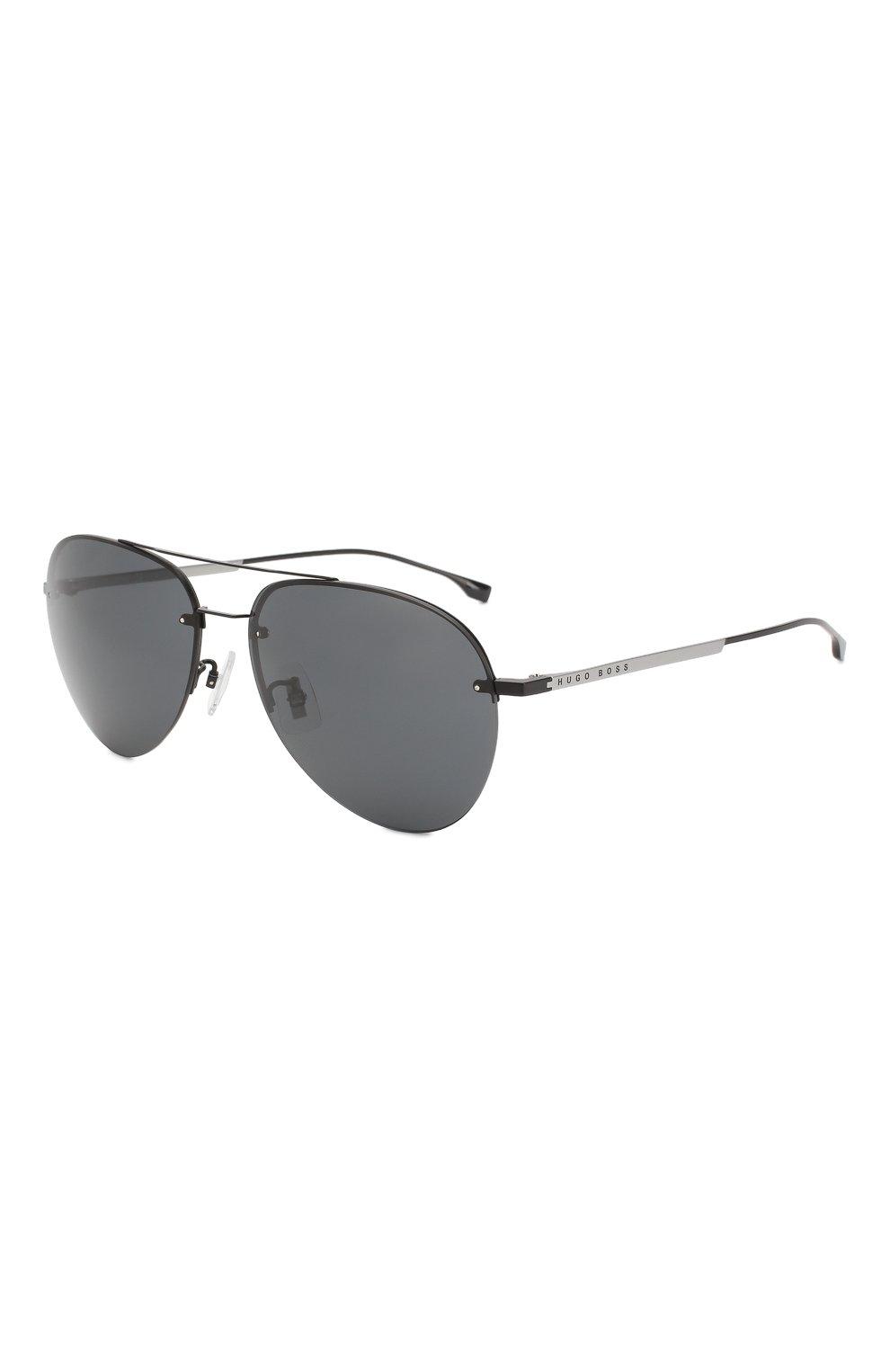Мужские солнцезащитные очки BOSS черного цвета, арт. 1066/F 003   Фото 1