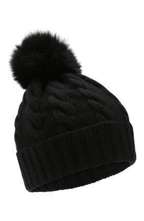 Кашемировая шапка с меховым помпоном | Фото №1